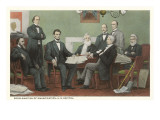 Lincoln und sein Kabinett unterzeichnen die Proklamation zur Sklavenbefreiung Kunstdrucke