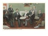 Firma de la proclamación de independencia, Lincoln y gabinete Láminas