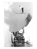 Man Ski-Jumping over Road Plakater