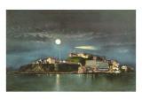 Moon over Alcatraz, San Francisco, California Posters