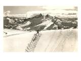 Skifahrer im Grätenschritt auf dem Weg nach oben Poster