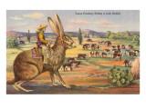 Vaquero de Texas reuniendo al ganado montado en un conejo gigante Lámina giclée prémium