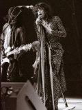 Steve Tyler Lead Singer of the Band Aerosmith in Concert at Pontiac Stadium, Detroit, USA, May 1976 Fotografisk tryk