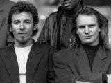 Sting AKA Gordon Sumner with Bruce Springsteen on Amnesty International Human, Rights Now Tour 1988 Fotografisk tryk