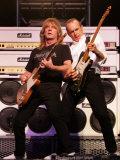 80s Rock Legends Status Quo, Francis Rossi and Rick Parfitt, in Concert in Sweden, June 2005 Stampa fotografica
