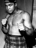 Boxer Muhammad Ali Dressed in Tartan Kilt Glengarry Hat Clenched Fists Photographic Print