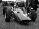 British Grand Prix 1965 Silverstone July 1965 John Surtees Sits in His Ferrari Number 1 Car Fotografisk tryk