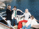 Abba Pop Group from Sweden Relax on Boat c.1976 Fotoprint