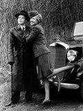 Tv Program 'Allo 'Allo: Richard Gibson in Leather Coat with Kim Hartman