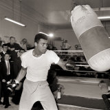 Cassius Clay August 1966 in Training Punch Bag, Boxing 1960s Photographic Print