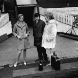 George Best of Manchester United with Two Models at Old Trafford For Fashion Shoot, 1964 Photographic Print