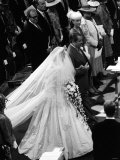 Earl Spencer Walks Arm in Arm with Lady Diana Up Aisle Photographic Print