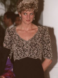 Princess Diana During a Visit to India with Embroidered Bodice Tiara Designed by Catherine Walker Photographic Print
