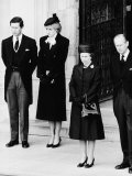 Queen Elizabeth II Prince Philip Princess Diana and Prince Charles at Duchess of Windsor Funeral Photographic Print