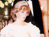 Princess Diana Attends a Banquet in Auckland New Zealand Wearing a Yellow Dress and Tiara Photographic Print