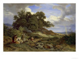 Landscape With Shepherds Giclee Print by Ludwig Richter