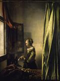 窓辺で手紙を読む娘 ジクレープリント : ヨハネス・フェルメール