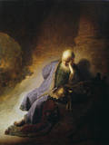 Jeremiah Mourning the Destruction of Jerusalem Reproduction procédé giclée par  Rembrandt van Rijn