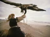Kazakh Hunter Strains to Support a Golden Eagle Fotografisk tryk af David Edwards