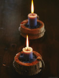 Two Candles in Rustic Candlesticks Photographic Print by Vlad Kharitonov