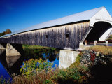 Cornish Covered Bridge over River Photographic Print by Emily Riddell