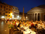 Outdoor Dining at Night, Piazza Della Rotonda, Pantheon in Background Fotografisk tryk af Russell Mountford