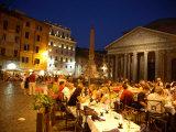 Outdoor Dining at Night, Piazza Della Rotonda, Pantheon in Background Fotografie-Druck von Russell Mountford