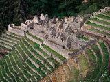 Terraced Ruins on Inca Trail, Huinay Huayna Fotografie-Druck von Karl Lehmann