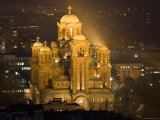 Sveti Marko Orthodox Church at Night, Central Belgrade Fotografisk tryk af Greg Elms
