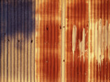 Rusted Corrugated Iron Wall in Late Afternoon Sun Reproduction photographique par Orien Harvey