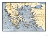 Carte de la Grèce antique et ses colonies Reproduction procédé giclée