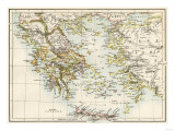 Map of the Aegean Sea in the Time of Ancient Greece Giclee-trykk