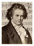 Ludwig Van Beethoven with One of His Manuscripts Giclée-tryk