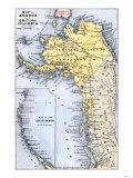 Karte von Alaska, the Aleuten Inseln, and British Columbia, 1872 Giclée-Druck