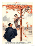 Le Sourire, Glamour Erotica Police Climbing Trees Magazine, France, 1920 Impressão giclée