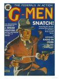 G-Men, FBI Detectives Pulp Fiction Magazine, USA, 1935 Giclée-tryk