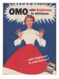 Omo, Washing Powder Detergent, UK, 1950 Lámina giclée