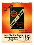Lucky Strike, Cigarettes Smoking, USA, 1930 Giclee-trykk