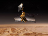 Mars Reconnaissance Orbiter Passes above Planet Mars Fotografie-Druck von  Stocktrek Images