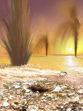 Martian South Polar Ice Cap as Southern Spring Begins Fotografie-Druck von  Stocktrek Images