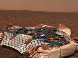 Rover's Landing Site, the Columbia Memorial Station, at Gusev Crater, Mars Fotografie-Druck von  Stocktrek Images