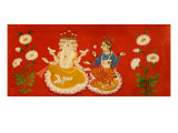 Brahma sentado con Saraswati, Brahma sosteniendo cuatro Vedas y Saraswai agarrando pétalos de loto, c.1650 Lámina giclée