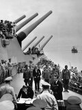 Aboard USS Missouri as Japanese Mamoru Shigemitsu Signs Official Surrender Documents Ending WWII Premium Photographic Print by Carl Mydans