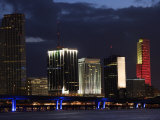 Scenic Skyline View with Illuminated Lights from Buildings in Miami, Florida Photographic Print