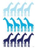 Blue Giraffe Family Posters par  Avalisa