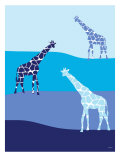 Blue Giraffes on Blue Plains Prints by  Avalisa