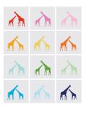 Rainbow Giraffe Squares on Grey Poster par  Avalisa