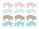 Seagreen Pig Family Affiche par  Avalisa