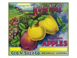 Rose Hill Brand Apple Label, Watsonville, California Póster por  Lantern Press