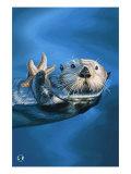 Nutria de mar Lámina giclée prémium por  Lantern Press